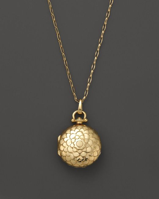 Monica Rich Kosann | Metallic 18k Yellow Gold Petite Scallop Locket Necklace, 30"