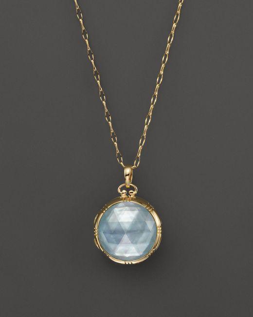 "Monica Rich Kosann | Metallic 18k Yellow Gold Dual Side Stone Blue Topaz Doublet Locket Necklace, 30"" | Lyst"