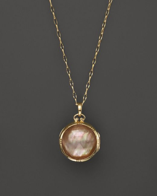 Monica Rich Kosann | Metallic 18k Yellow Gold Dual Side Stone Crystal And Cognac Doublet Locket Necklace, 30"