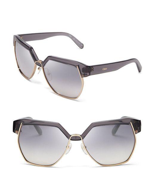 Chloé | Gray Dafne Sunglasses, 57mm | Lyst