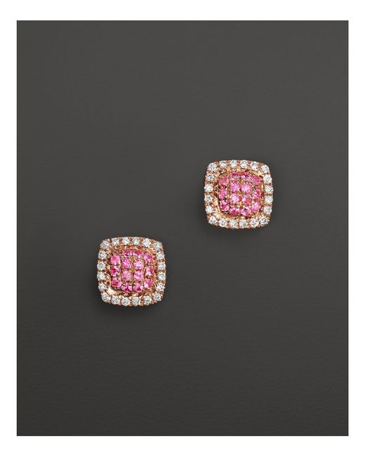 Dana Rebecca | Emily Sarah Earrings In 14k Rose Gold With Diamonds And Pink Sapphire | Lyst