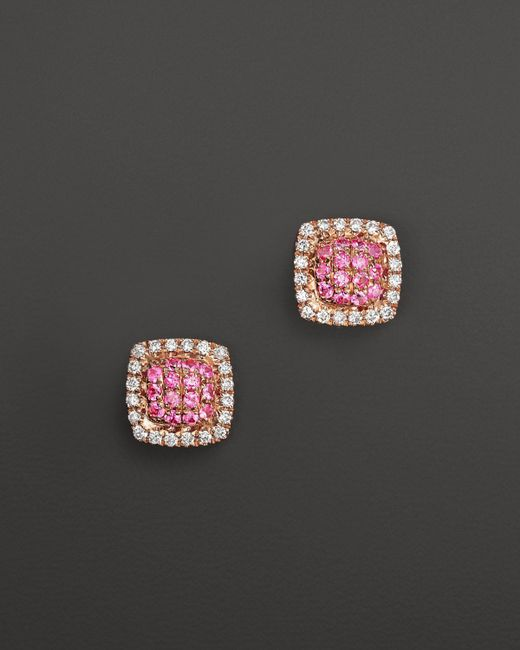Dana Rebecca   Emily Sarah Earrings In 14k Rose Gold With Diamonds And Pink Sapphire   Lyst