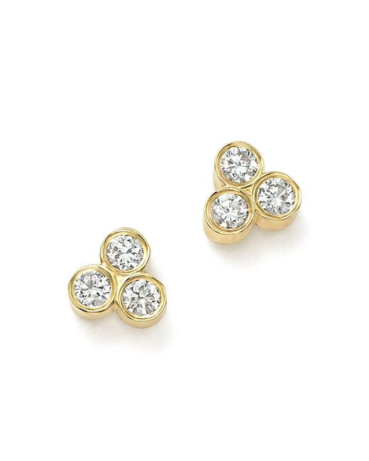 Zoe Chicco | Metallic 14k Yellow Gold Diamond Trio Stud Earrings | Lyst