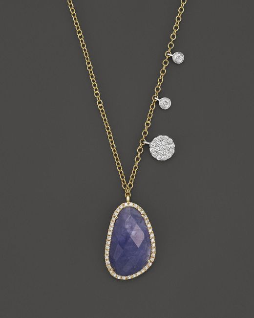 """Meira T   Metallic 14k Yellow And White Gold Tanzanite And Diamond Necklace, 16""""   Lyst"""