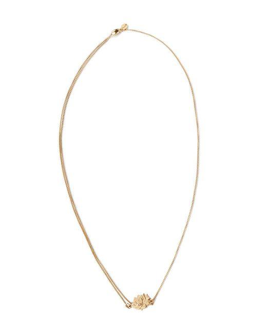 "ALEX AND ANI   Metallic Precious Metals Symbolic Lotus Peace Petals Pull Chain Necklace, 10-24""   Lyst"