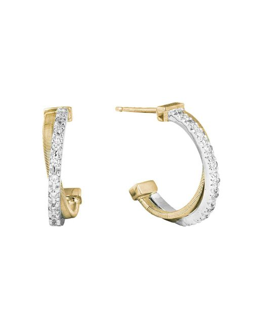 Marco Bicego | Metallic 18k Gold Cross Over Hoop Earrings With Diamonds | Lyst