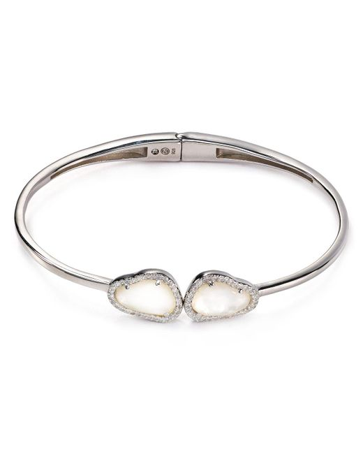 Nadri   Metallic Sterling Silver & Mother Of Pearl Two-stone Hinged Bangle   Lyst