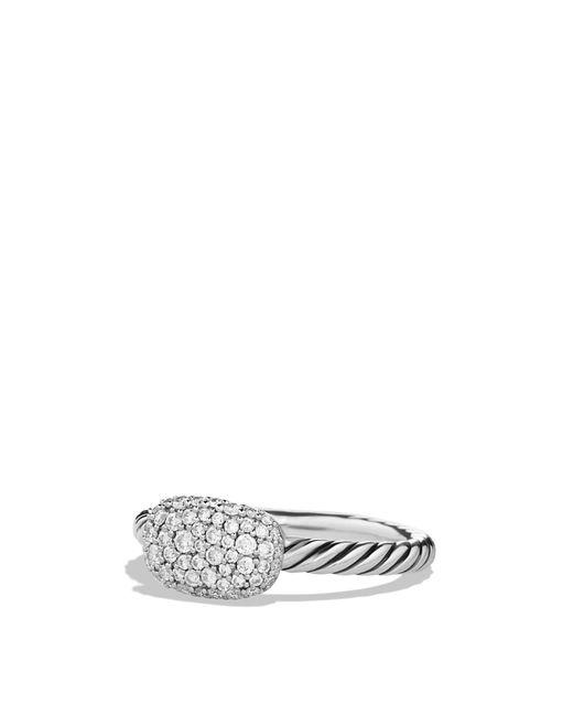 David Yurman   Metallic Petite Pavé Cushion Ring With Diamonds   Lyst