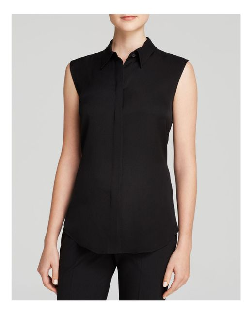 Theory | Black Top - Tanelis Silk Georgette | Lyst