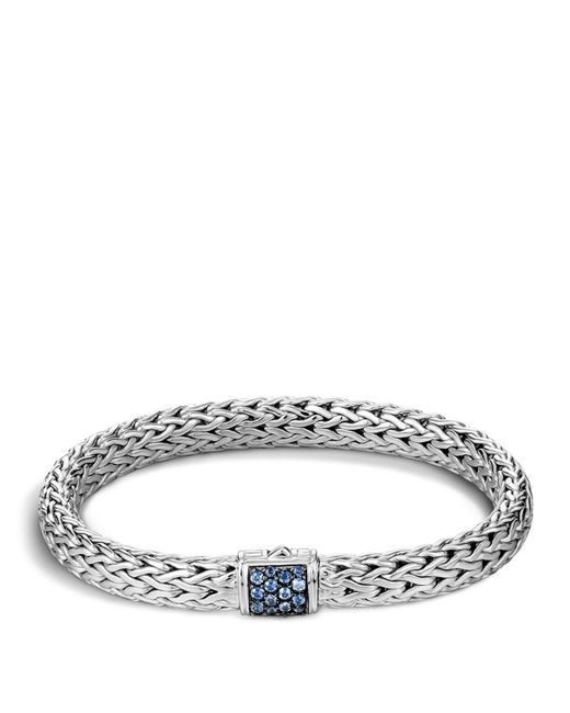 John Hardy   Classic Chain Sterling Silver Lava Medium Bracelet With Blue Sapphires   Lyst