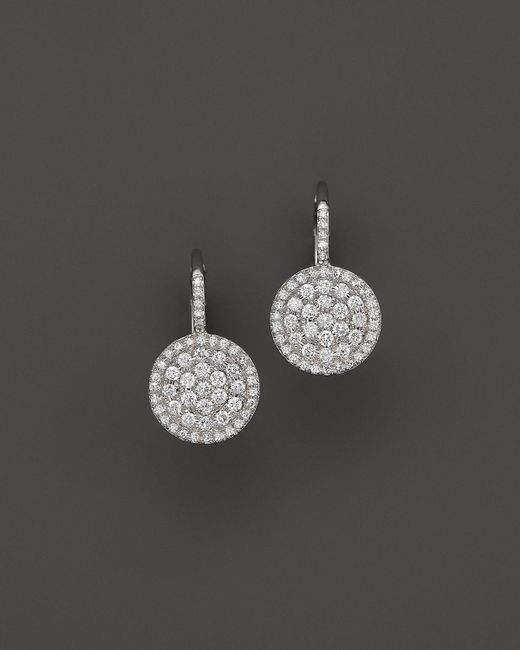 KC Designs | Metallic Diamond Disc Drop Earrings In 14k White Gold | Lyst