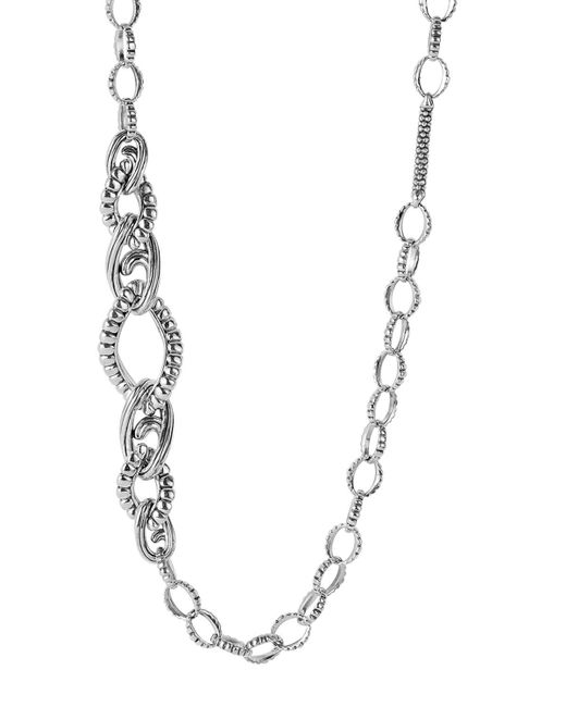 Lagos | Metallic Sterling Silver Link Fluted Caviar Bar And Circle Station Chain Necklace, 36"