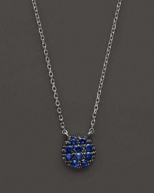 "Dana Rebecca | 14k White Gold And Blue Sapphire Lauren Joy Mini Necklace, 16"" | Lyst"