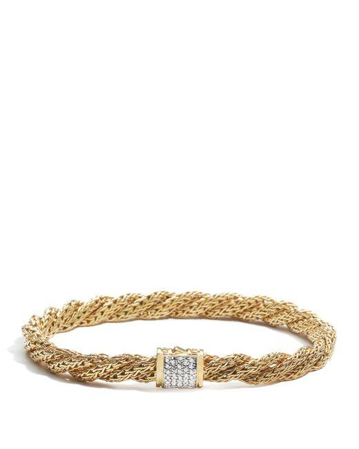 John Hardy   Metallic Women's 18k Gold Classic Chain Diamond Pave Flat Twisted Chain Bracelet   Lyst