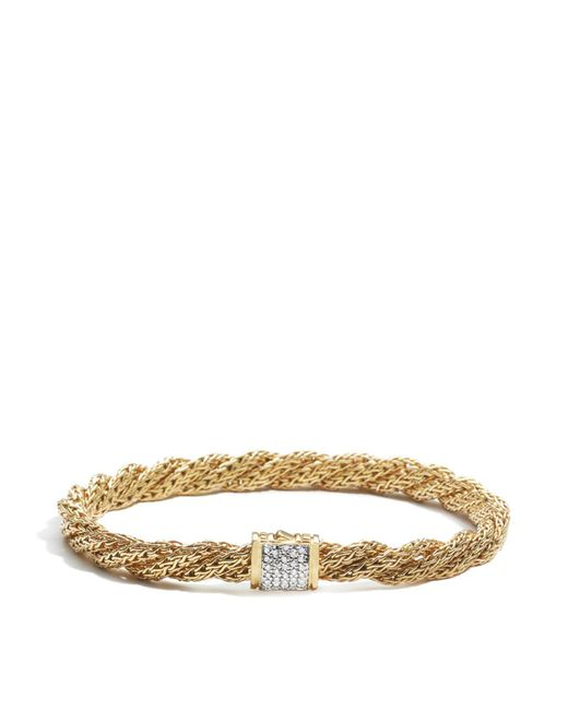 John Hardy | Metallic Women's 18k Gold Classic Chain Diamond Pave Flat Twisted Chain Bracelet | Lyst