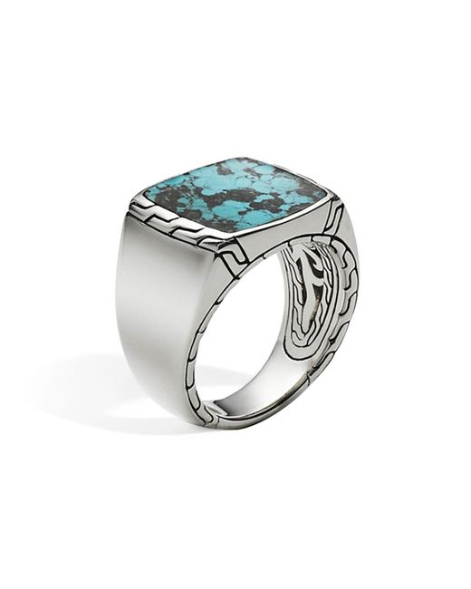 John Hardy | Blue Men's Sterling Silver Classic Chain Signet Ring With Turquoise for Men | Lyst
