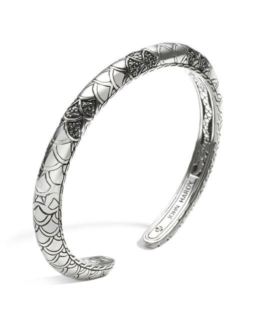 John Hardy | Metallic Women's Sterling Silver Naga Lava Slim Kick Cuff With Black Sapphires | Lyst