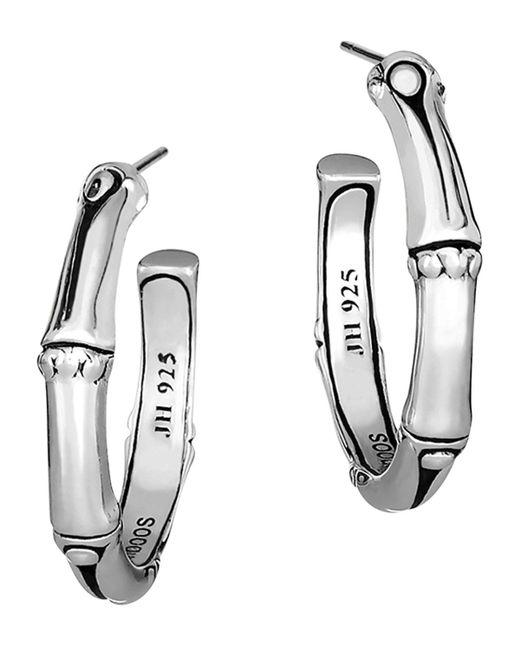 John Hardy   Metallic Women's Sterling Silver Bamboo Small Hoop Earrings   Lyst