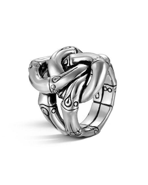 John Hardy | Metallic Women's Sterling Silver Bamboo Knot Ring | Lyst