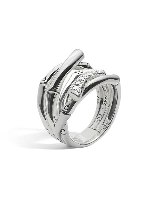 John Hardy | Metallic Women's Sterling Silver Bamboo Diamond Pave Wide Ring | Lyst