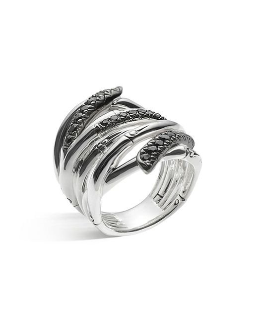 John Hardy | Metallic Women's Sterling Silver Bamboo Lava Extra Wide Ring With Black Sapphires | Lyst