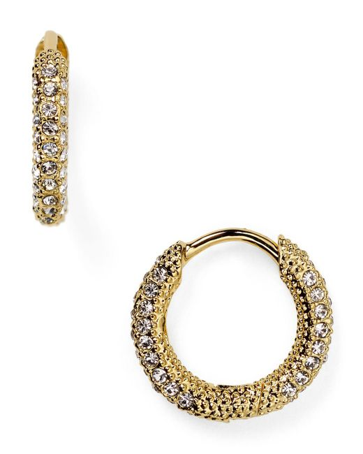 Nadri | Metallic Pave Huggie Hoop Earrings | Lyst
