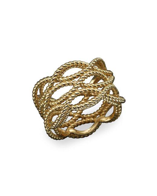 Roberto Coin | Metallic 18k Yellow Gold Triple Row Twisted Ring | Lyst