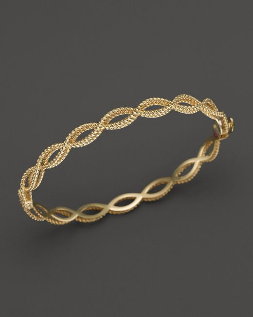 Roberto Coin | Metallic 18k Yellow Gold Single Row Twisted Bangle | Lyst