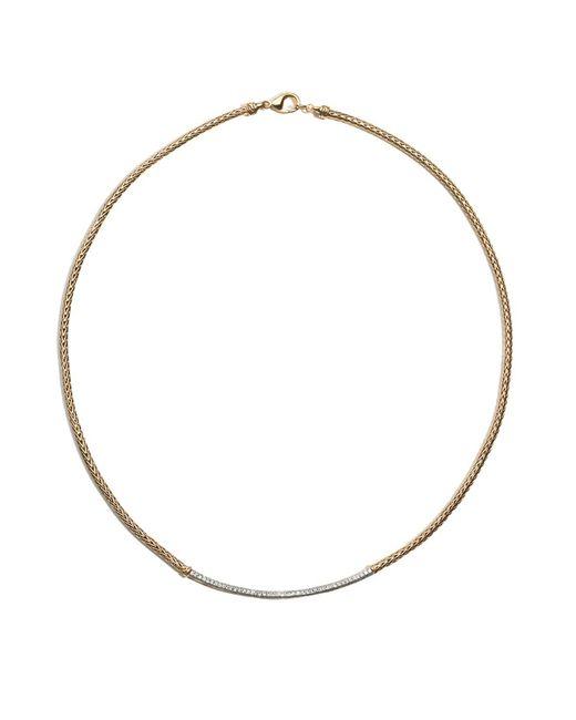 John Hardy | Metallic Women's Classic Chain 18k Gold Diamond Pave Station Mini Chain Necklace, 18"