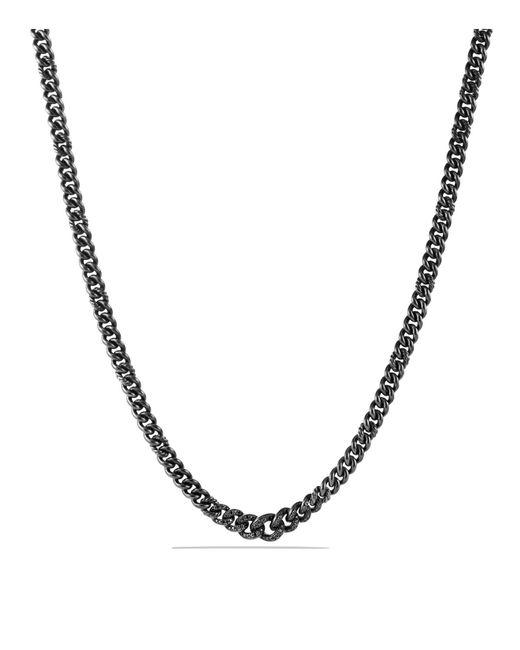 David Yurman | Petite Pavé Curb Chain Necklace With Black Diamonds | Lyst
