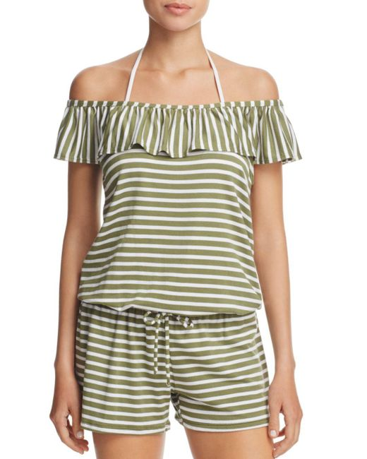 Splendid - Green Stripe Covers Romper Swim Cover-up - Lyst