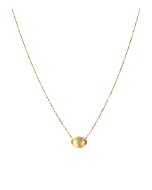 Marco Bicego | Metallic 18k Yellow Gold Engraved Delicati Bean Pendant Necklace, 16.5"