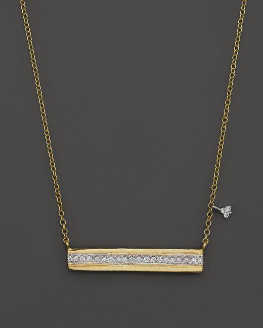 "Meira T | Metallic 14k Yellow Gold Horizontal Bar Pendant Necklace With Diamonds, 16"" | Lyst"