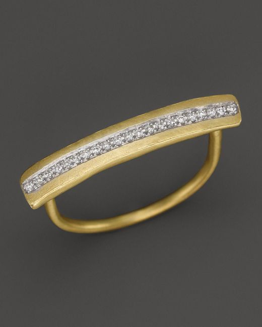 Meira T | Metallic 14k Yellow Gold Long Bar Ring With Diamonds | Lyst