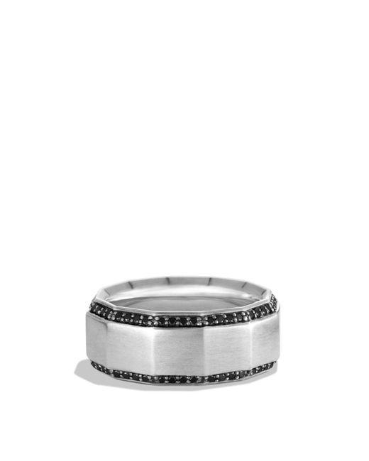David Yurman | Metallic Faceted Metal Band Ring With Black Diamonds | Lyst