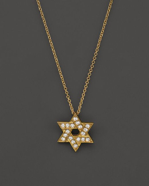 Bloomingdale's - Metallic Diamond Star Of David Pendant Necklace In 14k Yellow Gold, .18 Ct. T.w. - Lyst