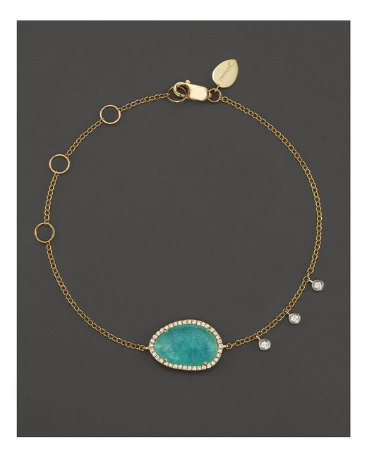 Meira T | Multicolor 14k Yellow Gold Amazonite Bracelet With Diamonds | Lyst