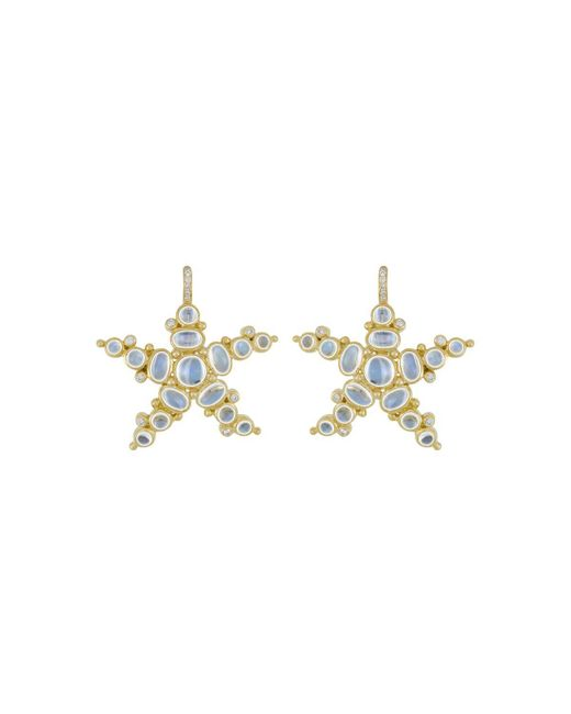 Temple St. Clair | Metallic 18k Yellow Gold Sea Star Earrings With Royal Blue Moonstone And Diamonds, .17 Ct. T.w. | Lyst