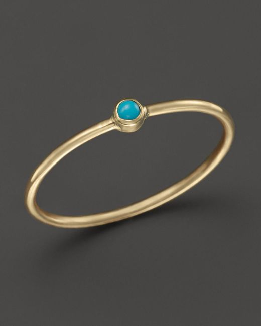 Zoe Chicco   Metallic 14k Yellow Gold Thin Ring With Turquoise   Lyst