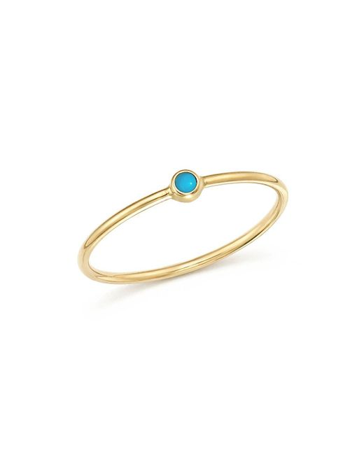 Zoe Chicco | Metallic 14k Yellow Gold Thin Ring With Turquoise | Lyst