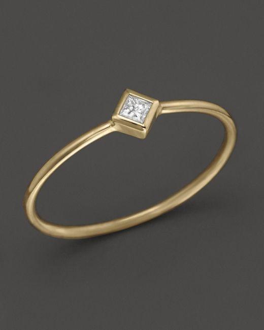 Zoe Chicco   Metallic 14k Yellow Gold Bezel Ring With Diamonds   Lyst