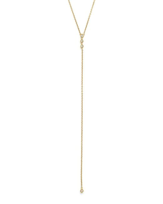 Zoe Chicco | Metallic Diamond & 14k Yellow Gold Lariat Necklace, 18"