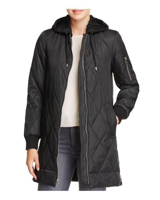 Vince Camuto | Black Long Quilted Bomber Jacket | Lyst