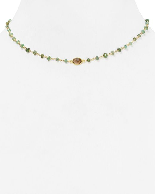 "Ela Rae   Green Libi Beaded Emerald Necklace, 14""   Lyst"