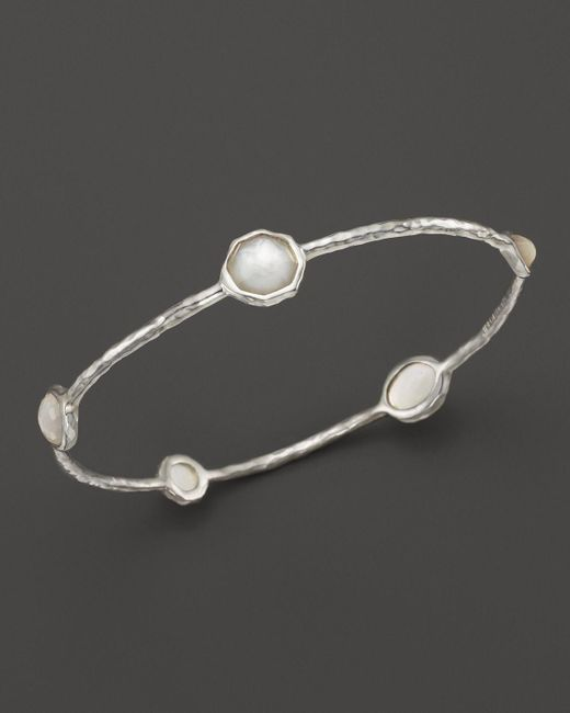 Ippolita | Metallic Sterling Silver Wonderland 5-stone Bangle In Mother-of-pearl | Lyst