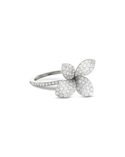 Pasquale Bruni - 18k White Gold Secret Garden Four Petal Pavé Diamond Flower Ring - Lyst