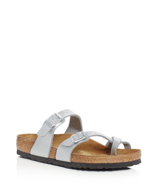 birkenstock women 39 s mayari metallic buckled slide sandals. Black Bedroom Furniture Sets. Home Design Ideas