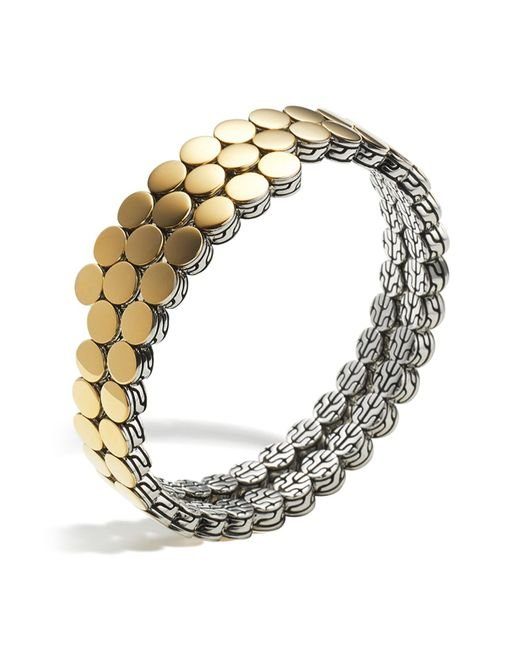 John Hardy | Metallic Sterling Silver And 18k Bonded Gold Dot Two Row Coil Bracelet | Lyst
