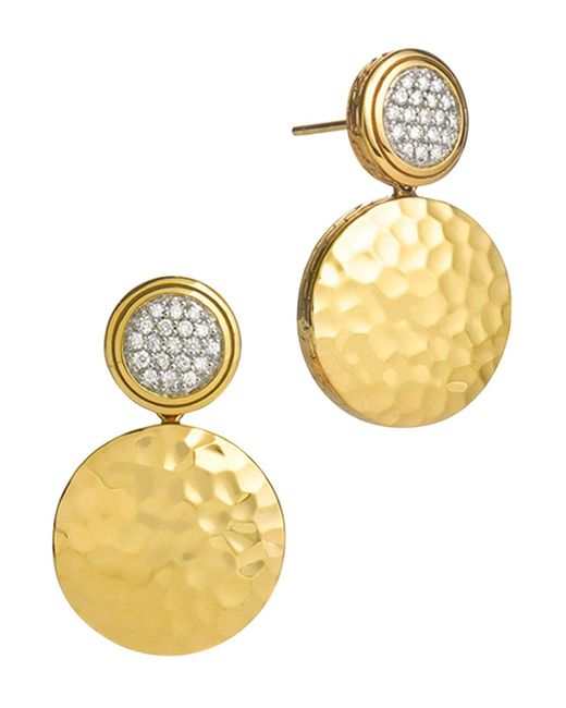 John Hardy | Metallic Palu 18k Gold & Diamond Pave Double Drop Earrings, .28 Ct. T.w. | Lyst