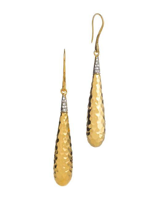 John Hardy   Metallic Palu 18k Gold Diamond Pave Drop Earrings, .15 Ct. T.w.   Lyst